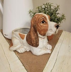 Vintage | Bisque Bassett Hound Dog Planter